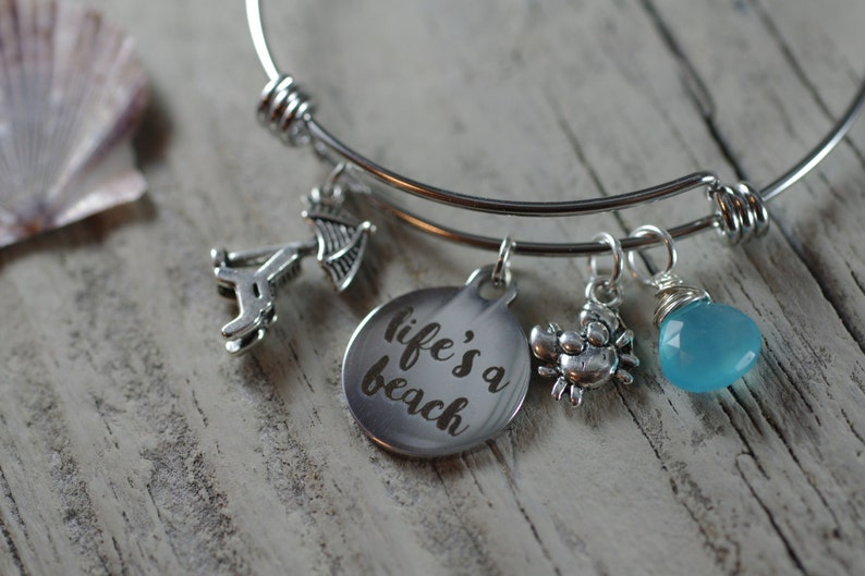 Life's A Beach Bracelet  Adjustable Bangle Bracelet  image 0