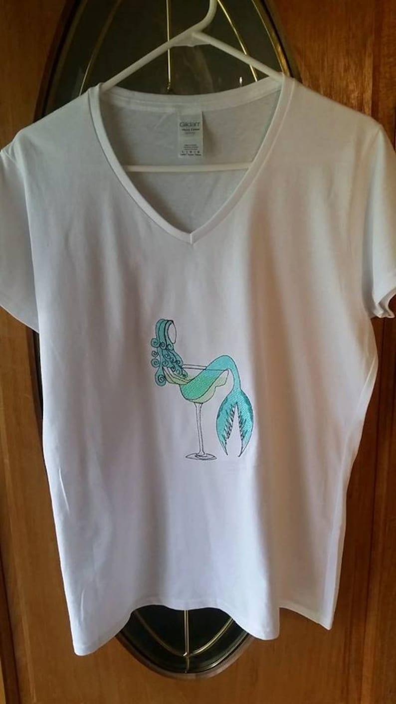 Mermaid Shirt  Embroidered Mermaid in Wine Glass or Mermaid image 0