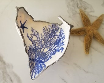 Conch Shell Decoupaged Coral and Starfish Trinket Dish