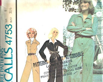 McCall's Pattern 4753 Women's Jumpsuit Size 8 1970's