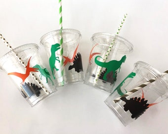 Set of 15  Dinosaur Party Cups With Lids Straws Favor Supplies
