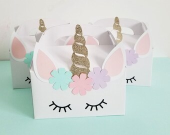 Unicorn Birthday Party Favor Box Theme Goodie Gable Boxes Magical Decoration Pink Gold Girls