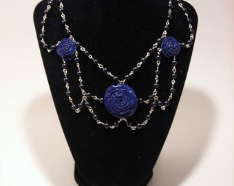 Gothic Navy Rose and Black Pearl Necklace