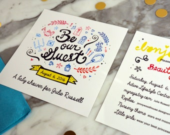 Handmade Floral Folk Wedding Invitation Package with Lettering   Etsy