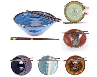 Choose your color chopstick bowl. Wheel thrown pottery with built in chopstick rest // noodle bowl // rice bowl //MADE TO ORDER- allow 6wks