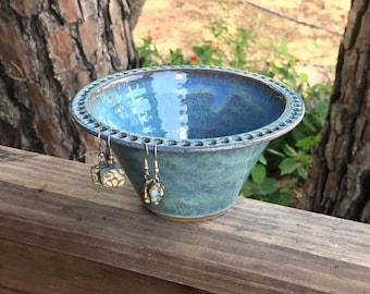 Earring Bowl in Rain Glaze (foggy green/blue) | jewelry bowl/ earring dish/ earring organizer/ earring display | Hand thrown pottery