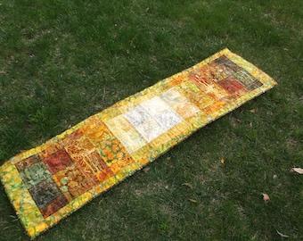 Batik blocks quilted table runner bed runner