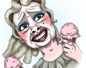 Baby Jane Hudson Dancing with Strawberry Ice Cream - Bette Davis - Whatever Happened to Baby Jane? - Giclée Print