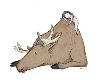 Princess and the Moose - Giclée Illustration Print