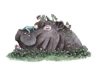 The Prince & the Hippopotamus - Giclée Illustration Print