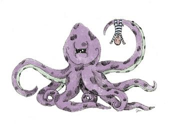 Octopus Climbing - Giclée Illustration Print
