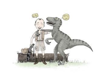 Muldoon + Velociraptor - Jurassic Park inspired Giclée Illustration Print