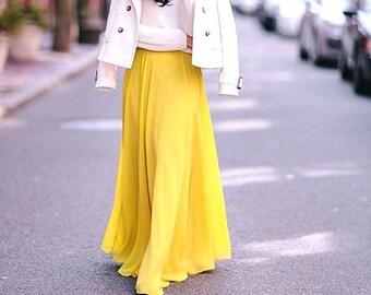 6dbbfe74c4 Yellow Skirt, Bridesmaid Maxi Circle Skirt
