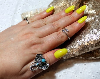 Bright Yellow Gloss Press On Nails