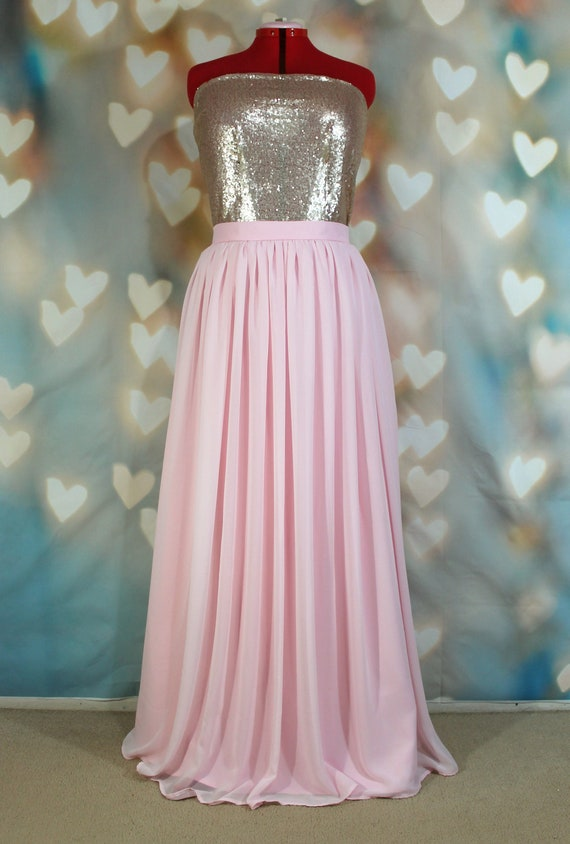Long Light Pink Chiffon Skirt Maxi Skirt Tutu Skirt Etsy
