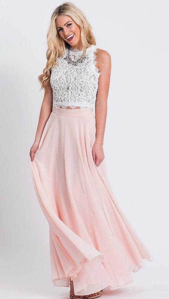 Bridesmaid Long Light Pink Chiffon Skirt Maxi Circle Skirt Etsy