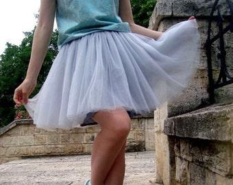 Short Silver Gray Tulle Tutu Skirt, Adult, Women