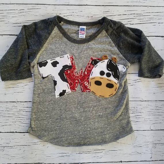 2nd Barnyard Birthday Shirt Two Cow Horse