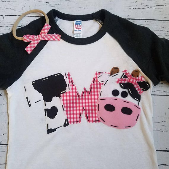 Girl Farm Birthday Shirt 2nd Raglan Cow Two