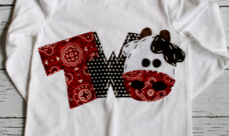 2 Barnyard Birthday Shirt Two Cow 2nd Girl T Shirt Barn Etsy