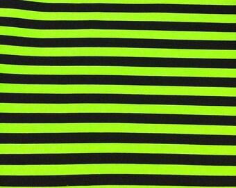 Sale Monster Green  Black Stripes Cotton Lycra Knit Fabric cotton fabric.