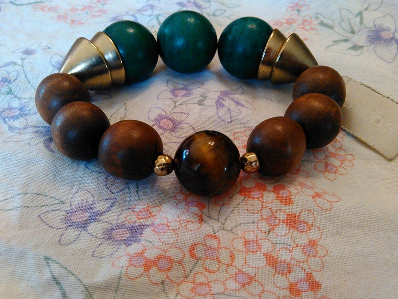 Vintage CHICO/'S wood and stone stretch bracelet still tagged original price 29.00 Best deal here