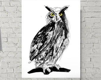 black owl - owl art print - digital download - black and white art - owl print - owl art - woodland art - kids room wall art