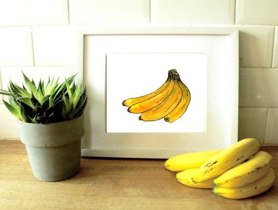 Wall art banana - bananas - fruit decor - tropical wall art - yellow prints  - banana artwork - kitchen decor - kitchen prints - kitchen wall