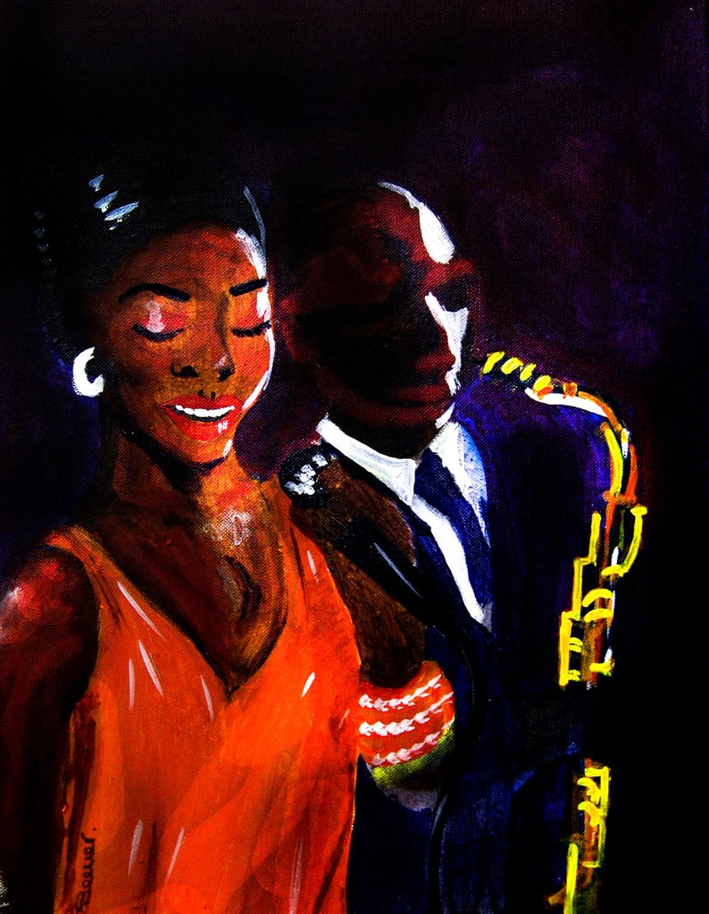 Jazz paintings jazz singers new orleans jazz club speak easy moody dark  wall art print uk portrait artist