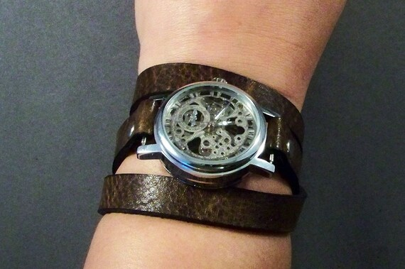 Steampunk Wrist Watch-Vintage Brown Watch-Ladies Watch-Skeleton Watch-Mechanical Watch-Bracelet Watch-Gift For Her-Women Watch