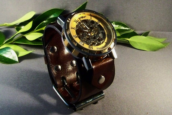 Steampunk Wrist Watch-Leather Watch-Skeleton watch-Leather Cuff Watch-Bracelet Watch-Watch Cuff-Leather Watch Band-Vintage Brown Watch