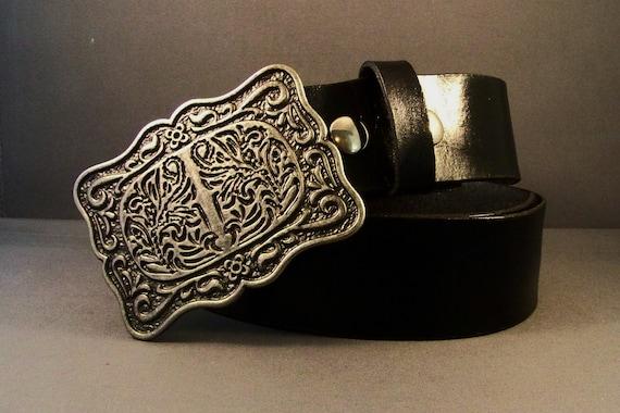 Black Leather Belt-Womens Leather Belt-Silver Buckle-Gifts-Thick Black Leather Belt-Snaps Leather Belt-Belt For Buckl- Leather Tooled Belt