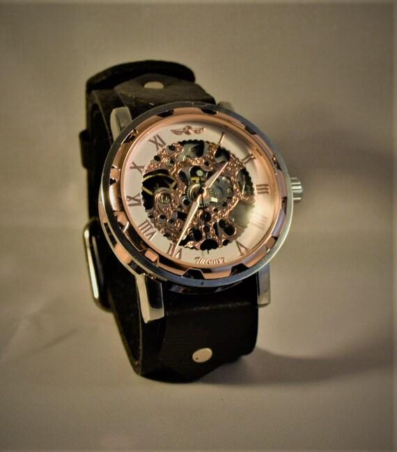 Steampunk wrist watch, Steampunk women watch, Black leather watch, Steampunk men watch, Leather cuff watch, Skeleton watch, Bracelet watch