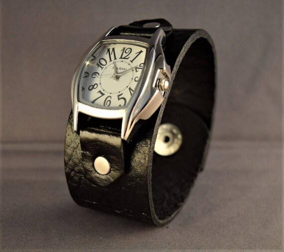 Leather Watch-Men's Cuff Watch-Women's Watch-Black leather Watch-Gifts For Her-Gifts For Him-Wrist Men's Watch-Wrist Women Watch