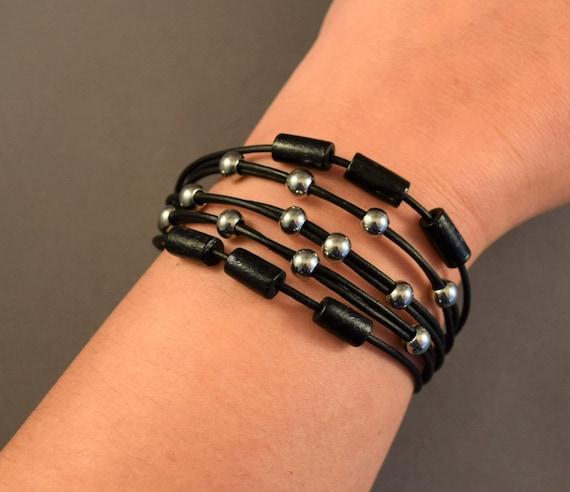 Bohemian bracelet, Leather bracelet for her, Retro bracelet, Womens leather bracelet, Beaded Bracelet, Christmas gifts