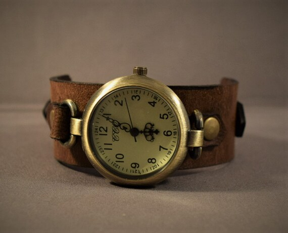 Womens leather watch, Vintage leather watch, Bracelet watch for women, Antique brass watch, Ladies watch, Brown leather watch