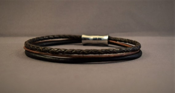 Mens leather bracelet, Braided leather bracelet for men, Womens leather bracelet in brown, Christmas giftsfor him