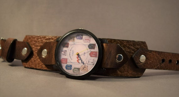 Women watches, Leather watch for her, Men watches, Brown leather watch, Women wrist watch.
