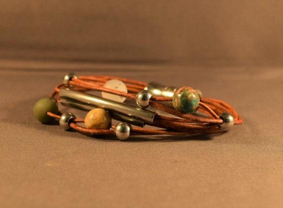 Leather braceket for women, Brown leather bracelet, beaded bracelet, Charm bracelet