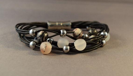 Leather Bracelet-Black Leather Bracelet-Bracelets for women-Gifts-Women wrist bracelet-Beaded Bracelet-Gifts For Her-Birthday Gifts