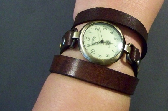 Women watch-Retro watch-Wrap watch-Brown leather watch-Ladies Watch-Bracelet Watch-Vintage Watch