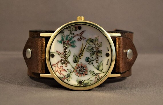Watches for women, Vintage leather watch, Victorian leather watch, Women bracelet watch, Women cuff watch, Ladies watches, Women wrist watch