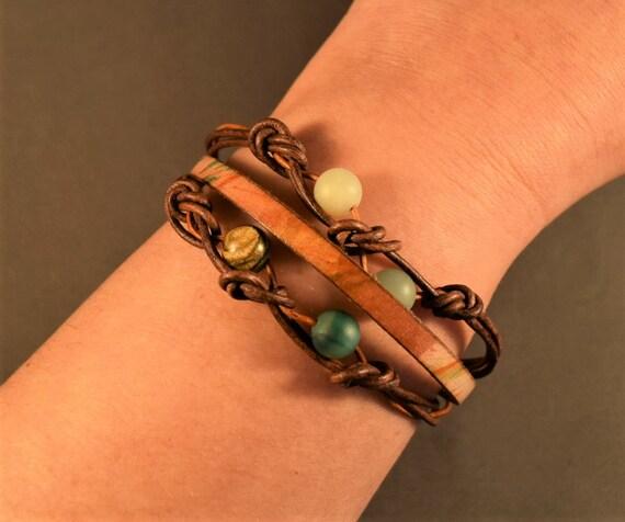 Women leather bracelet, Beaded leather bracelet, brown leather bracelet, jasper bracelet