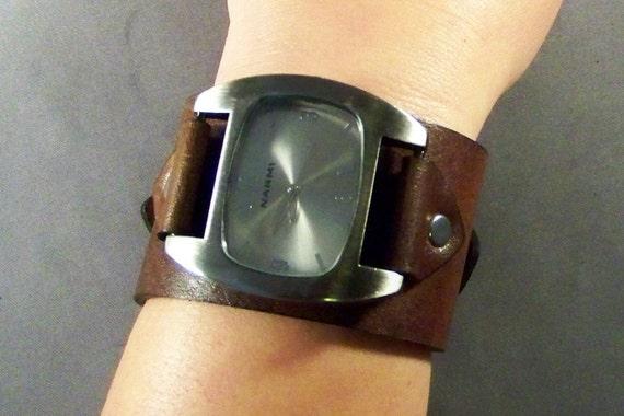 Men watch-Women watch-Mens wrist watch bracelet-Brown leather watch-Gift for men-Christmas Gift