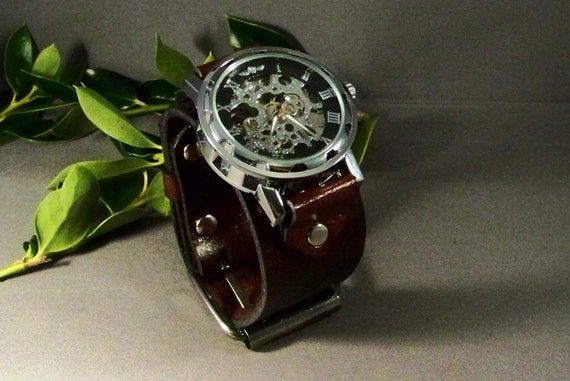 Steampunk men watch, Waches for men in vintage brown leather, Skeleton watch, Women watch, Brown leather watch band