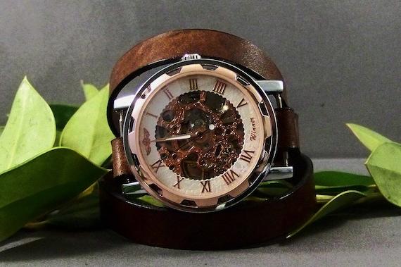 Steampunk watch-Women watch-Skeleton watch-Men watch-Wrap watch for women-Vintage watch