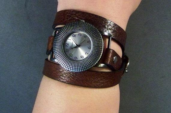 Wrap Watch-Womens Watch-Wrist Women Watch-Friendship Gift-Bracelet Watch-Brown Watch-Leather Wrist Watch- Wrist Men Watch-Men's Jewelry