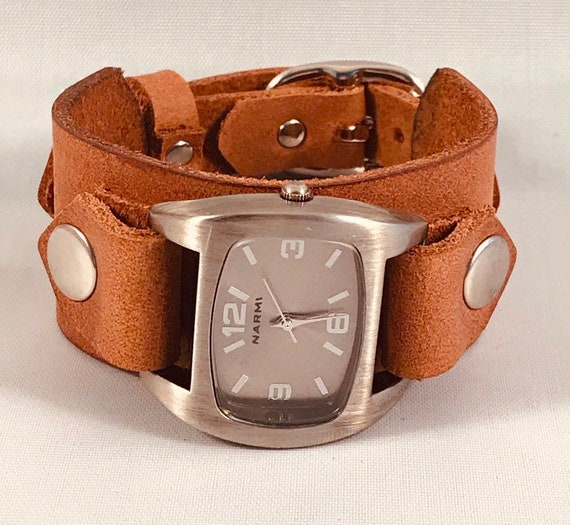Leather cuff watch-Womens leather watch-Mens leather watch-Vintage leather watch-Boho Watch-Womens cuff watch-Mens cuff watch-Brown watch