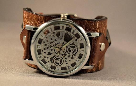 Steampunk wrist watch-Men Watch-Women Watch-Vintage Brown Watch-Boyfriend Christmas Gift-Custom-Skeleton watch