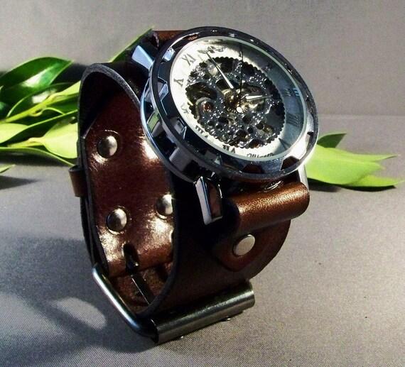 Watch-Steampunk Watch-Men's Watch Vintage-Gifts-Mechanical Watch-Watches-Men's Watch-Women's Watch-Watches Men-Gifts For Her-Brown Watch